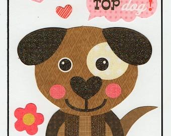Dog Puppy Love Valentine Paper Piecing Premade Scrapbook Card