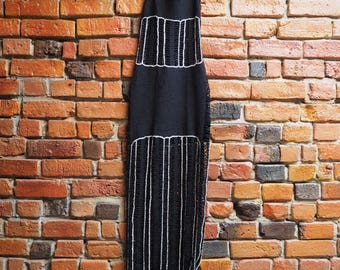 Women's Vintage Long Black And Silver Mesh Knitted Sleeveless Maxi Dress With Halter Neck Size XS X Small