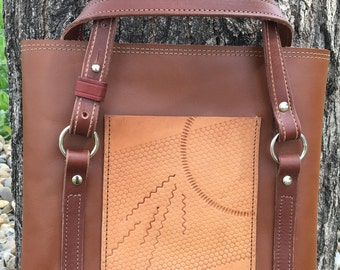 Rich brown tote with imprinted pocket