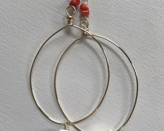 Orange Coral and Shell Earrings