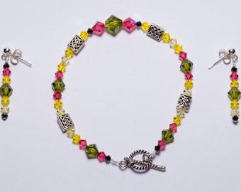 Spring Swarovski Crystal Bracelet and Earrings Set