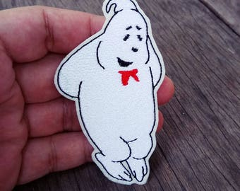 The White Smiling Ghost in The Ghostbusters Film - Iron on Patch