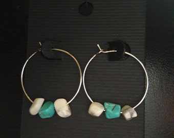Turquoise and White (Howlite) hoop earrings silver plated