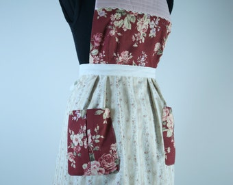 Handmade Vintage Inspired Apron Fully Lined (reversible) with Pockets - Burgundy/Cream Floral