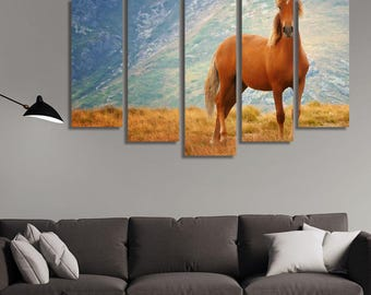 LARGE XL Wild Horse Canvas Print Brown Wild Stallion Mountain Steppe Grass in the Nature Canvas Wall Art Print Home Decoration - Stretched