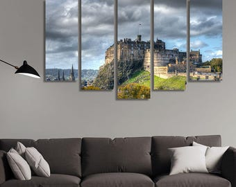 LARGE XL Royal Mile in Edinburgh, Scotland Canvas Print Side Profile of the Royal Mile Canvas Wall Art Print Home Decoration - Stretched