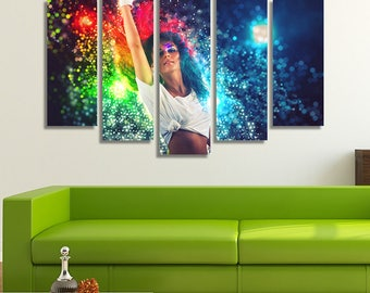 LARGE XL Young Woman Dancing Canvas Print Colorful Fantasy Canvas Dance Performer Lady Wall Art Print Home Decoration - Framed and Stretched
