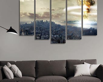 LARGE XL Nuclear Bomb Striking a City Canvas Devastation Wall Art Print Home Decoration - Framed and Stretched - 1124