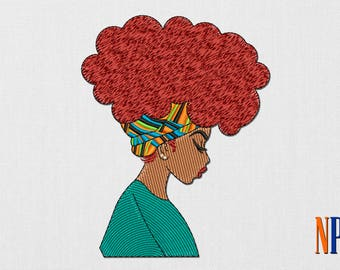African Girl machine  embroidery design. Afro hair. Afro hairstyle. African woman. Boho style. Beautiful girl. Embroidery patch