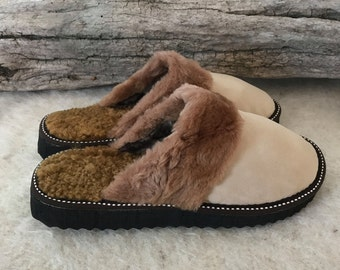 Fluffy Sugar women slippers, real leather, sheepskin inside, cosy and flexible
