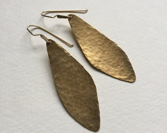 Hammered Brass Wing Earrings