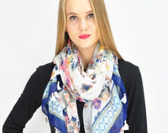 Floral Blue Scarf / Spring Summer Scarf / Womens Scarves / Gift for her / Cache col / Echarpe / Schal / Szalik / Sciarpas