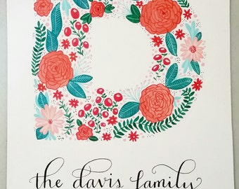 Custom Floral Family Monogram Painting 8x10