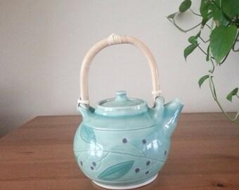 Stonware Teapot, Handmade Pottery Teapot, teapot, Ceramic Teapot, Green Teapot, Ceramic Berry pattern Teapot, Handthrown Teapot,Berry teapot