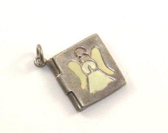 Vintage Peace On Earth Angel Enamel Pendant 925 Sterling Silver PD 331-E