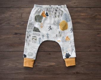 100% Organic Cotton Baby/Tot Slim Cuffed Harem Leggings, Max's Maps