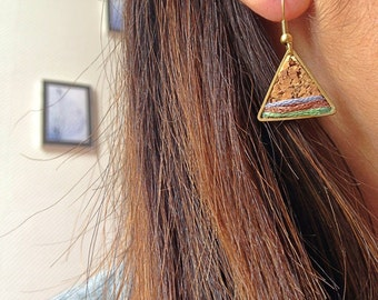 Earrings triangle-Cork-embroidery threads salmon/Blue Metallic/Grey/copper/green almond FLOYD