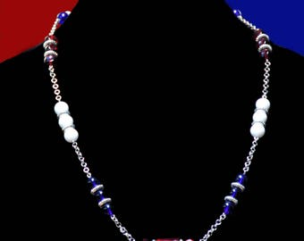 Red, white and blue glass and metal beaded necklace, perfect for 4th of July