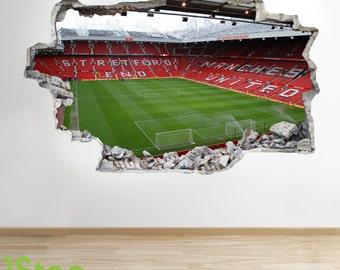 Manchester United Stadium Wall Sticker 3d Look   Boys Kids Football Bedroom  Z48