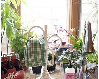 Vintage Wicker Towel Hanger | Rattan Towel Holder | Hand Towel Holder