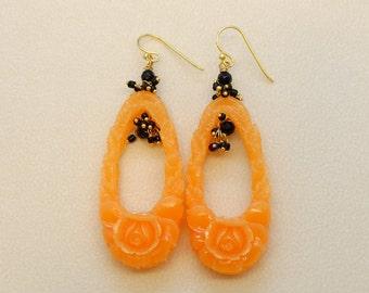 Plastic earrings with onyx stones-Orange earrings-925 silver plated