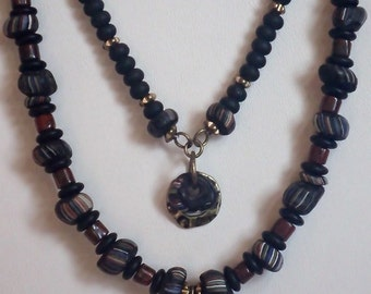 Black Indonesian Necklace With Bear Pendant