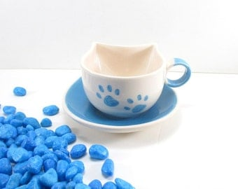 Blue cat cup, blue cat cup and saucer, blue ceramic cup, ceramic cat cup and saucer, clay cat cup, handmade cat cup, pottery cat cup, cat
