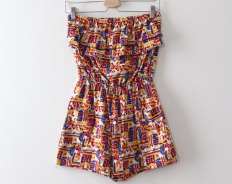 vintage 1980s romper // 80s colourful strapless romper