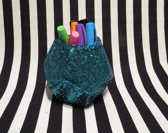 FREE SHIPPING - Teal Glitter Geometric Planter/Pencil Cup