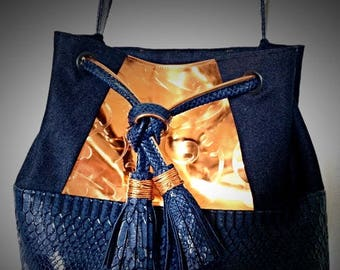 Marine and copper chic purse bucket bag bright with PomPoms