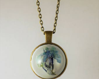 Blue Wildflower Resin Pendant Necklace