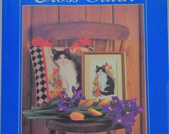 Cats in Cross Stitch by Sally Harman - Hardcover book of over 20 counted cross stitch cat designs