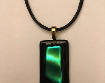 Dichroic Green/Black Pendant Necklace