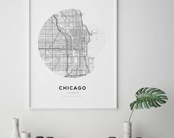 Chicago Map Art Black And White Print Illinois Travel - Chicago in the us map