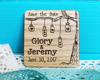 Wood Save-the-Date magnets, mason jar magnets, wooden save the date magnets, engraved magnets, rustic save the dates-Oak tree save the date