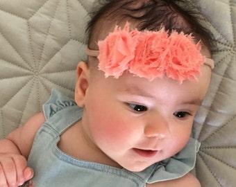 Baby, toddler, newborn, girls peach flower headband accessories