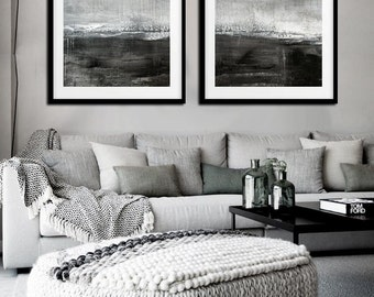 Abstract Print Set Of Two Landscape Art Print Gray Coffee Charcoal Modern Art Diptych Painting Contemporary Wall Art 2 piece Two Prints Set