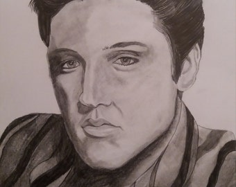 hand drawn pencil sketch of Elvis Presley