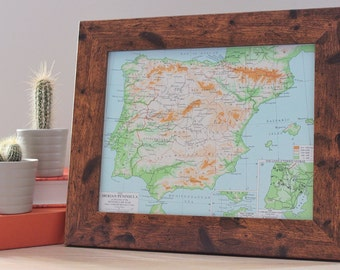 Old Vintage Framed Map Of Spain & Portugal Iberian Peninsula War Home Office Art Decor Original European Gibraltar Lisbon Barcelona Print