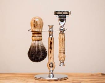 Wood Shaving Set - Chrome Razor set - Mach 3 - badger brush - Christmas gift for dad Birthday Gift - Christmas Gift for him