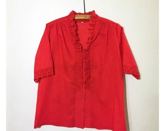 Vintage Lace Collared Blouse, Red, Short Sleeved Shirt. Summer, Frilly, Tuxedo, Button-up, Carefree Fashions.