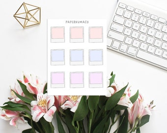 mini polaroid stickers for bullet journals and planners - 9 stickers