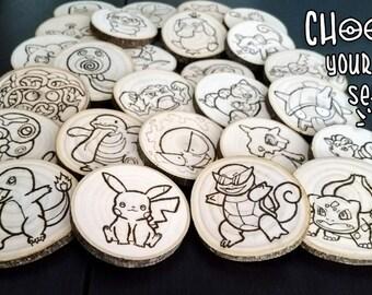 Handmade Woodburned Pokemon Coasters - Set of 5+