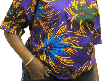 African print stoned top