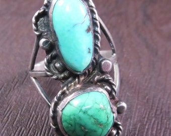 Vintage Old Pawn Two Stone Turquoise Ring Green and Blue Turquoise Size 7 Navajo Southwest
