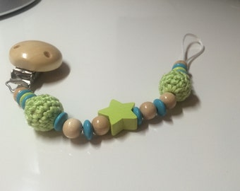 Crochet beaded pacifier chain
