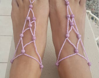Foot Jewelry, Beaded Barefoot Sandals, Barefoot Sandals, Pink, Purple, READY TOSHIP