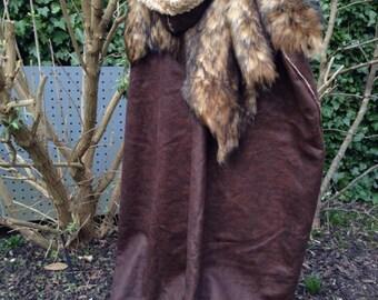 Leather Cloak with Fur Collar