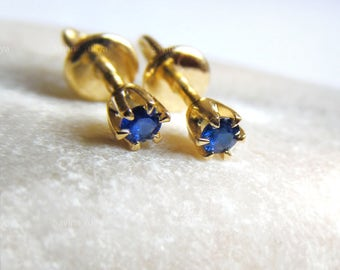 14K Yellow Gold Stud Natural Blue Saphire Earrings, Fine Jewelry