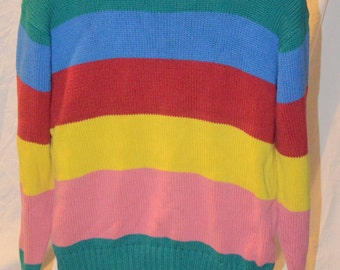 Vintage Ralph Lauren Multicolored Striped Color BLock Cotton Hipster Pullover Sweater - Size Large